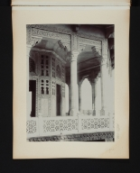 Detail of an interior wall with pillars in Agra, India.