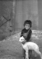 Navajo children with lamb