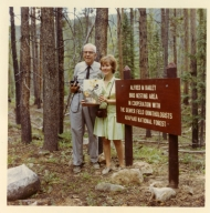Alfred M. Bailey and daughter Patricia B. Witherspoon at site of Bailey Bird Nesting Area.