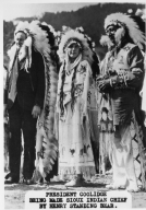 Clavin Coolidge being made Sioux Indian Chief