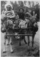 Chief Silas Standing Bear and tourists in goat cart