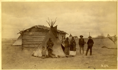 Sioux- Group of Tipis and Log Cabin