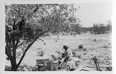 Unidentified Tohono O'odham Woman Washing Clothes