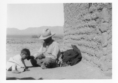 Unidentified Tohono O'odham man and child