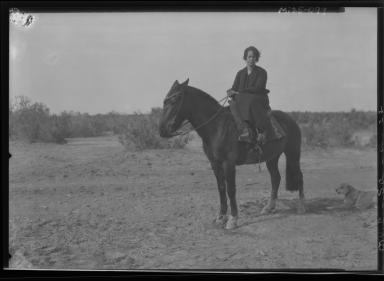 Senora Lecam on horseback