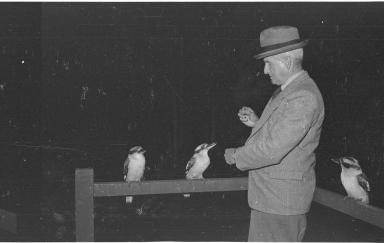 Colonel Hal Scott with kookaburras