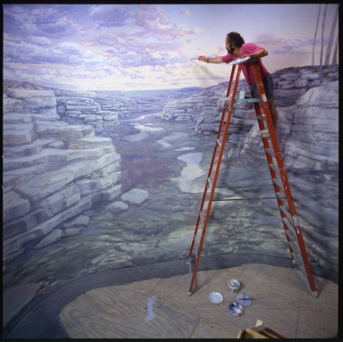 Jan Vriesen painting background of Kansas Coastline diorama