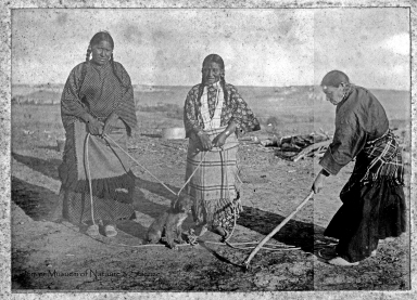 Sioux women and dog