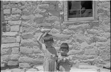 Two boys at the Hopi village