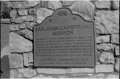 San Juan Capistrano Mission Plaque