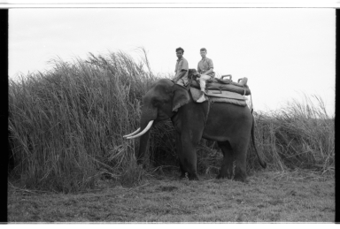 Jack Murphy and an unidentified man on an elephant