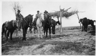 Portrait of Ute boys on horseback