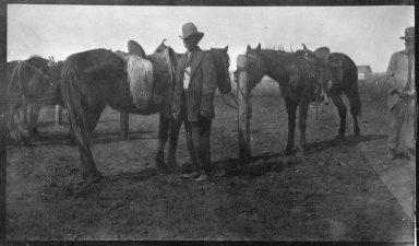 Portrait of Ute man with horses