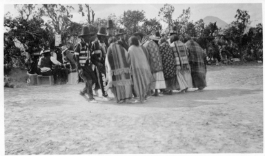 Portrait of Ute Indians Dancing the Bear Dance