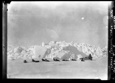 Museum team and sled dogs along pressure ridge