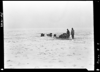 Eskimo men and sled dogs