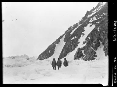Eskimos standing near Little Diomede Island