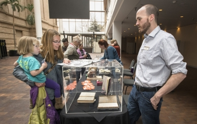 Darwin day event and collection display with Image Archives Assistant Daniel Steelman