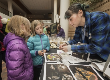 Darwin day event and collection display with Research Assistant Lindsay Dougan