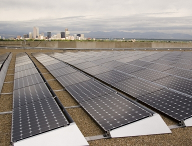 Solar panels on the roof of the Denver Museum of Nature and Science
