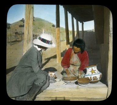 Pueblo pottery vendor