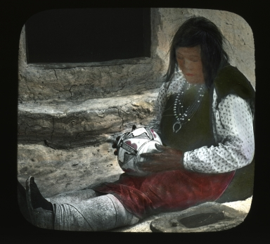 Zuni woman with pot