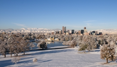Denver Skyline in Winter