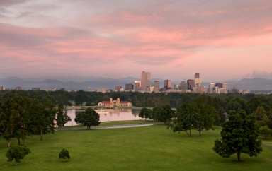 Denver Skyline with Pink Sky