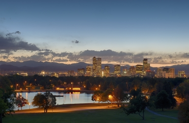 Downtown Denver View in Fall Evening