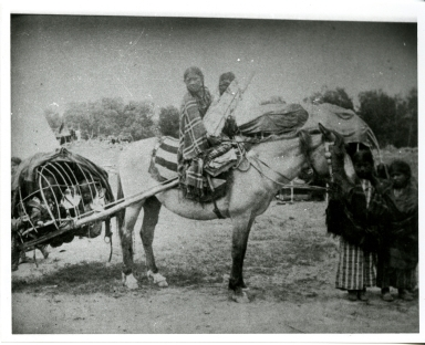 Plains Indian woman and children with travois and tipi