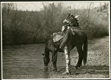 Man watering horse