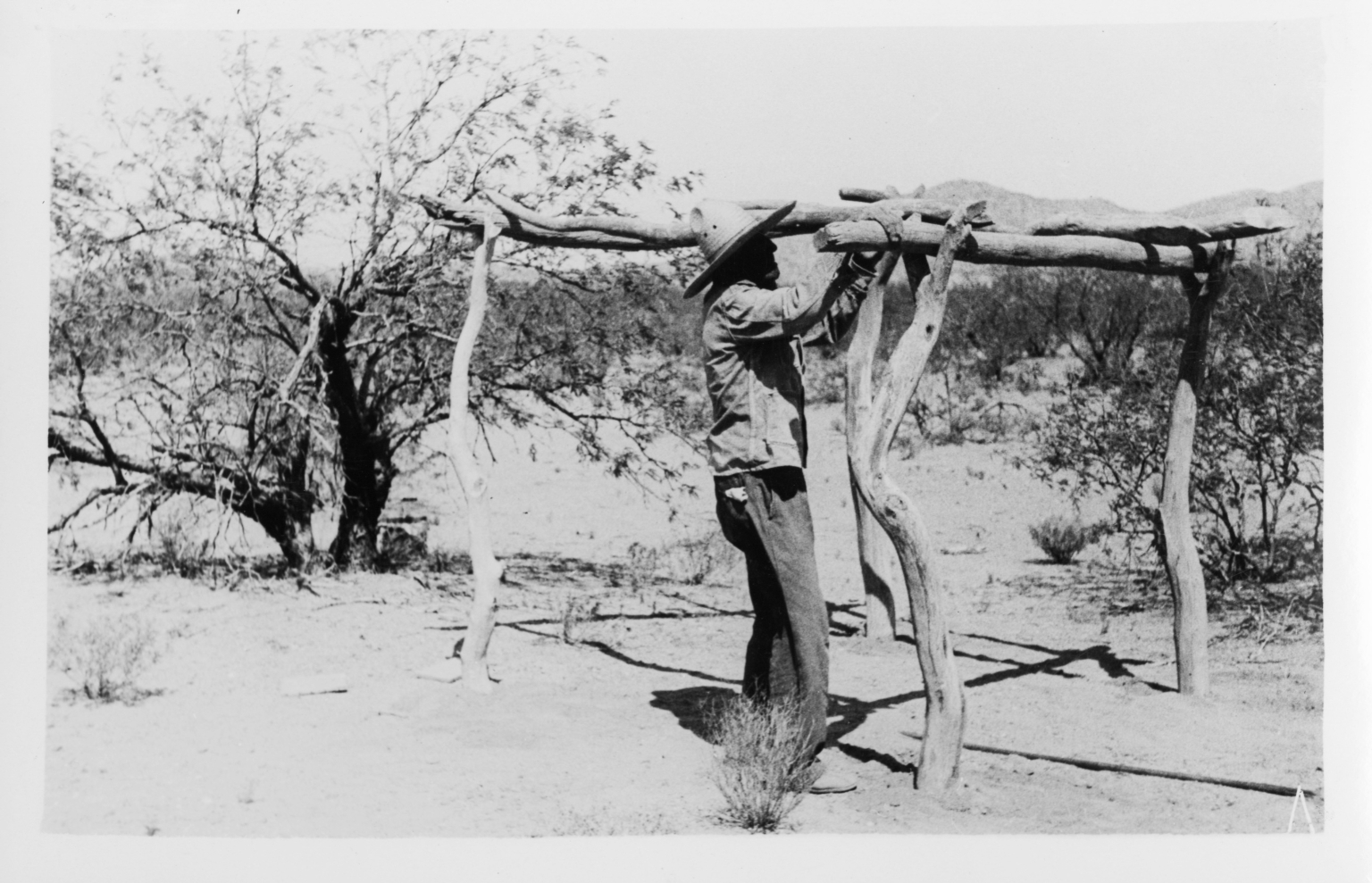 Tohono O'odham Man Setting Up A House Frame