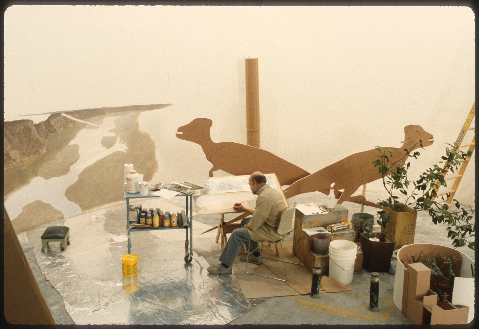 Kent Pendleton painting background for Cretaceous Creekbed