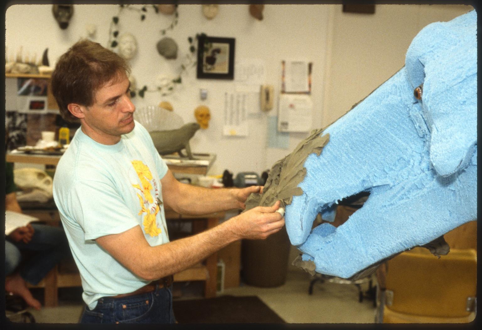 "Tom Shankster working on ""Terminator Pig"""