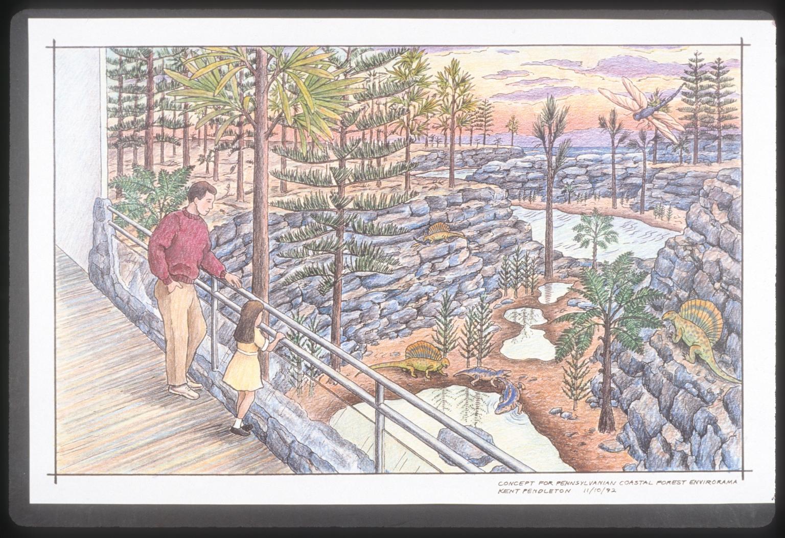 Artists conceptions of Prehistoric Journey Exhibit
