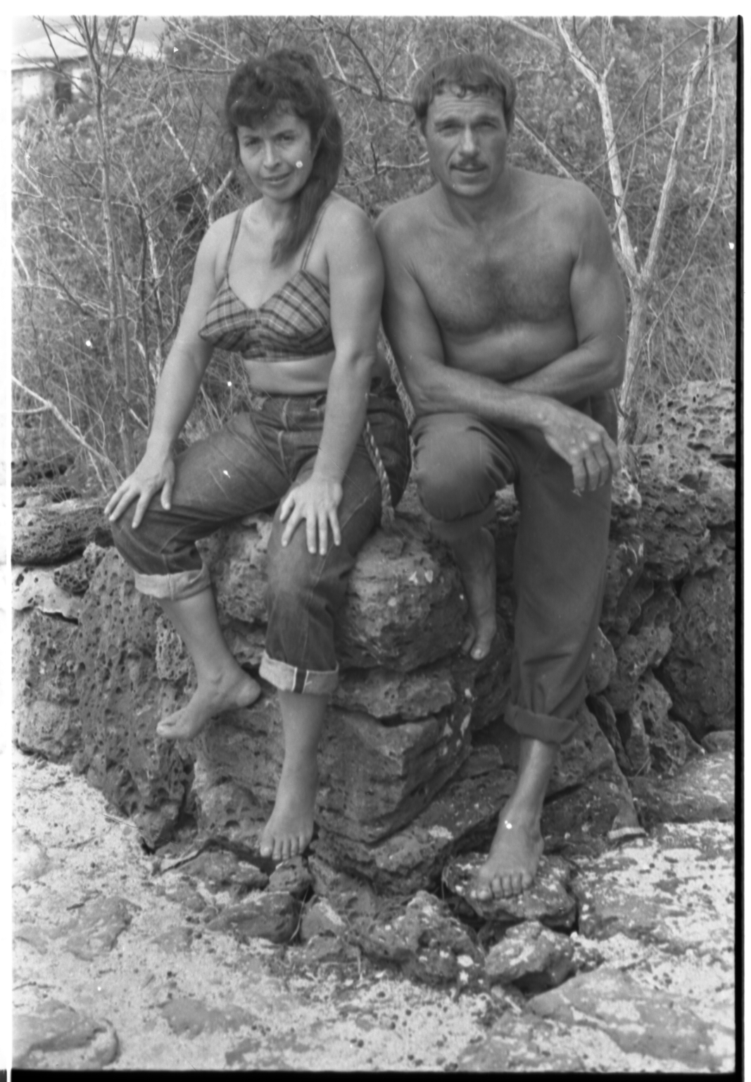 Man and woman in Galapagos Islands.
