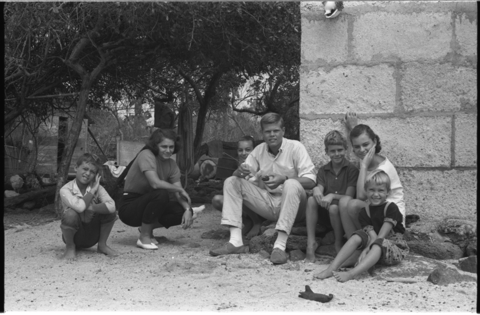 Jack Murphy and children in Galapagos Islands.