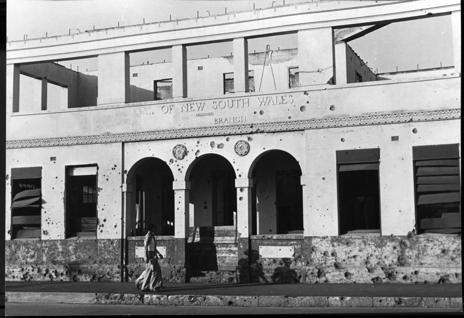 Ruined bank building in Darwin, Northern Territory, Australia