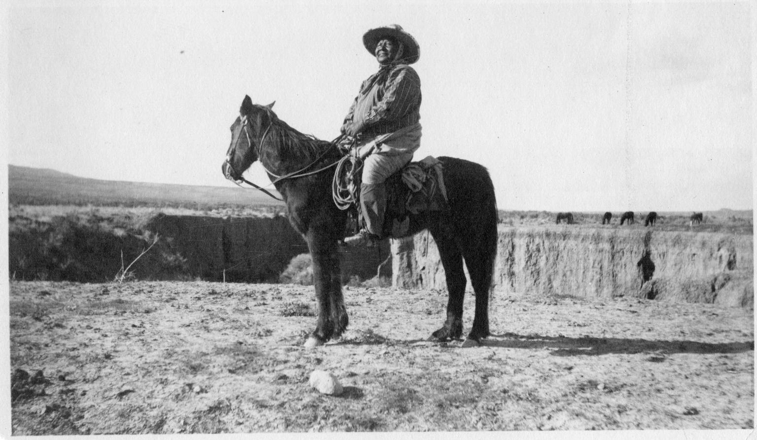 Portrait of a Ute Mountain Ute on horseback