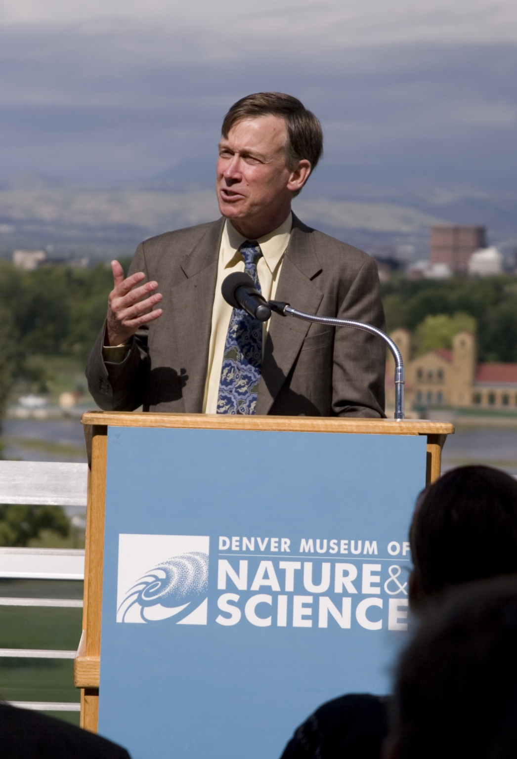 Mayor John Hickenlooper on rooftop of the Denver Museum of Nature and Science