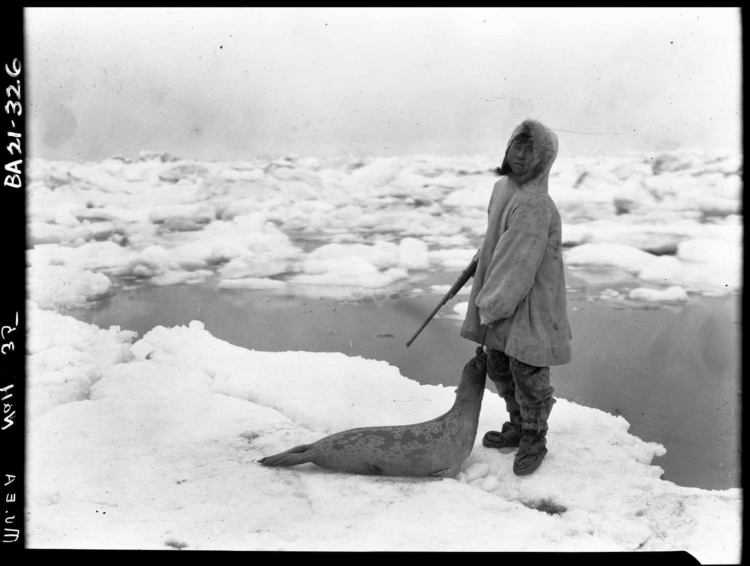 Boy with ringed seal