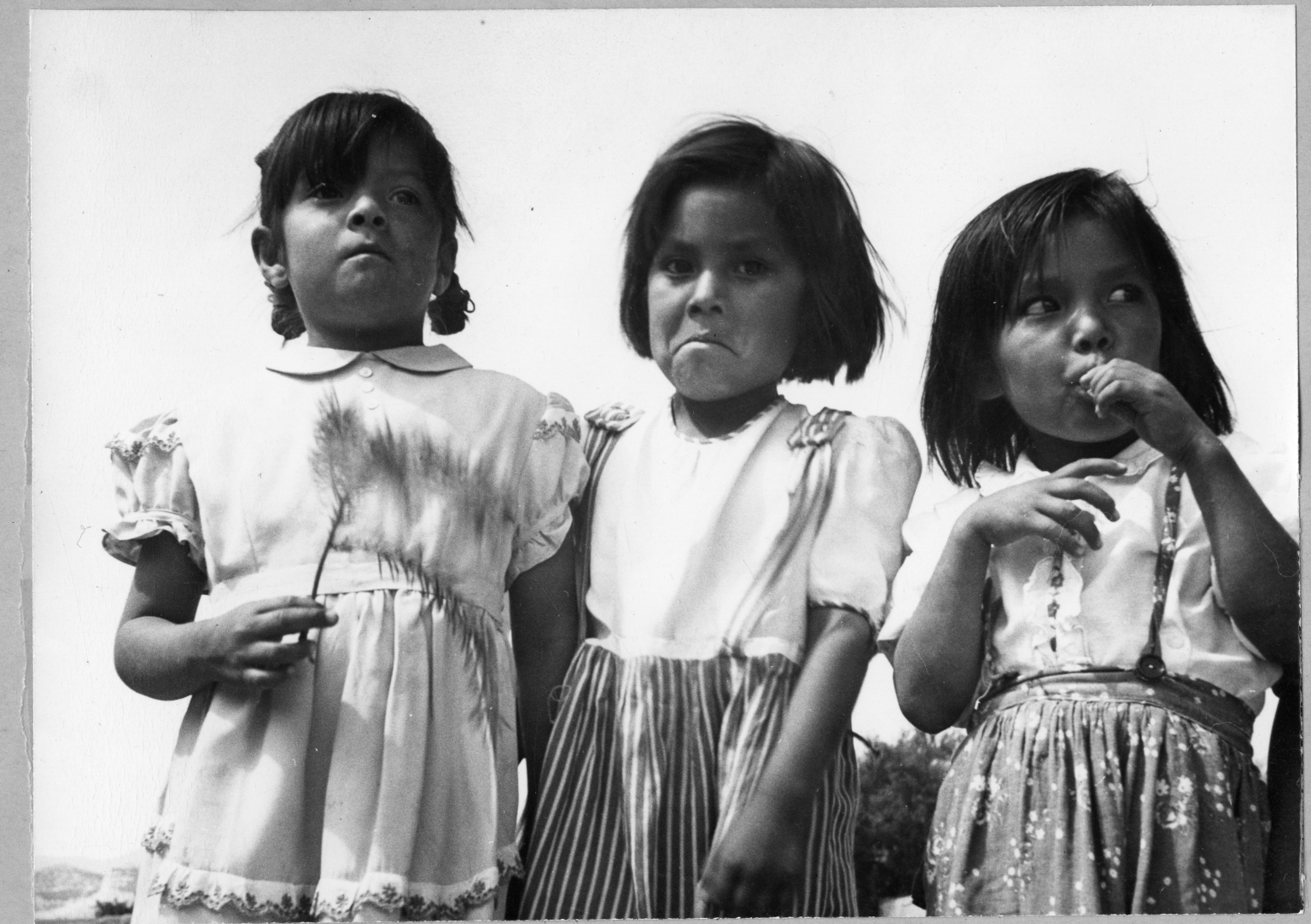 San Ildefonso Pueblo, observations at Corn Dance. Portrait of 3 young girls