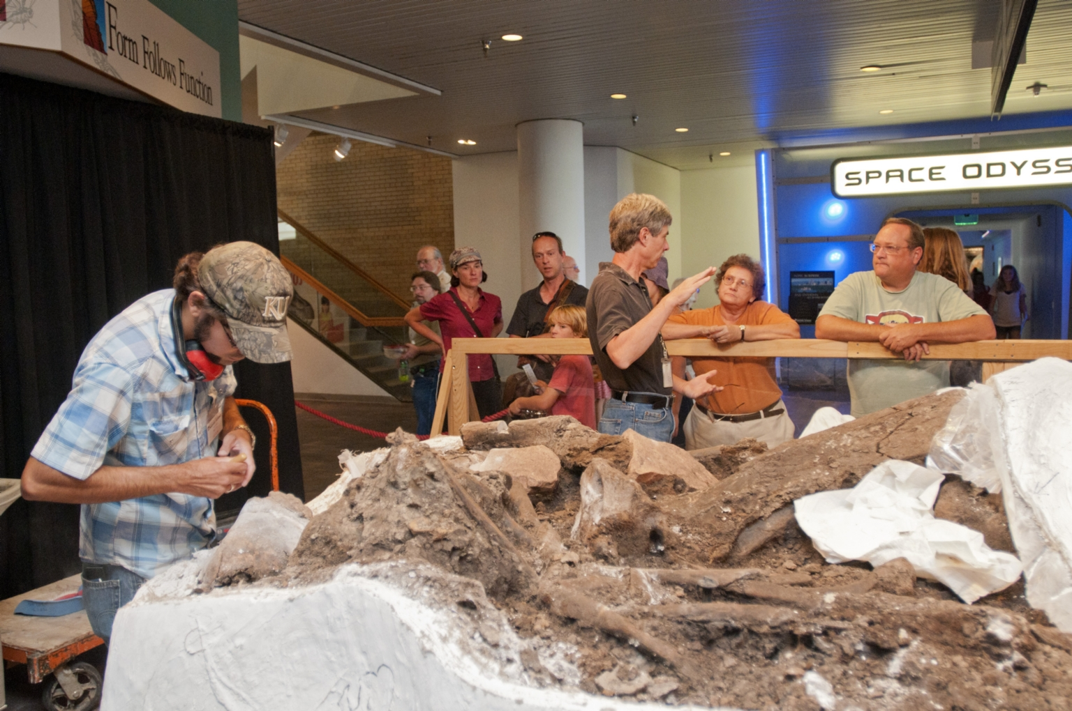 Working on Mammoth from Snomastadon Excavation in Pop-up Exhibit