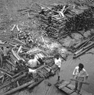 Loading wood for steam engine fuel