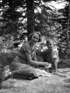Unidentified woman and boy