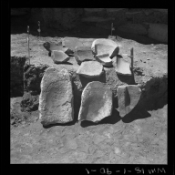 Fragments at excavation site