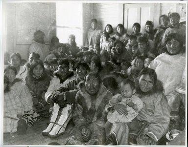 Native dance audience at Wainwright school