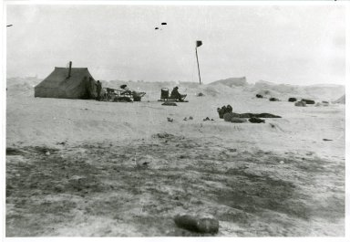 Eskimo whaler's camp with victory flag flying