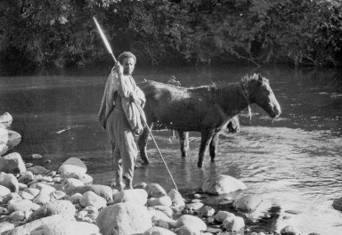 Abyssinia, native watering horses