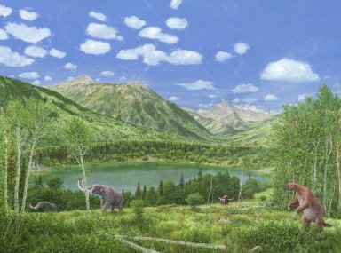 Snowmass Village paintings - 120,000 Years Ago When Dominated by Mastodon
